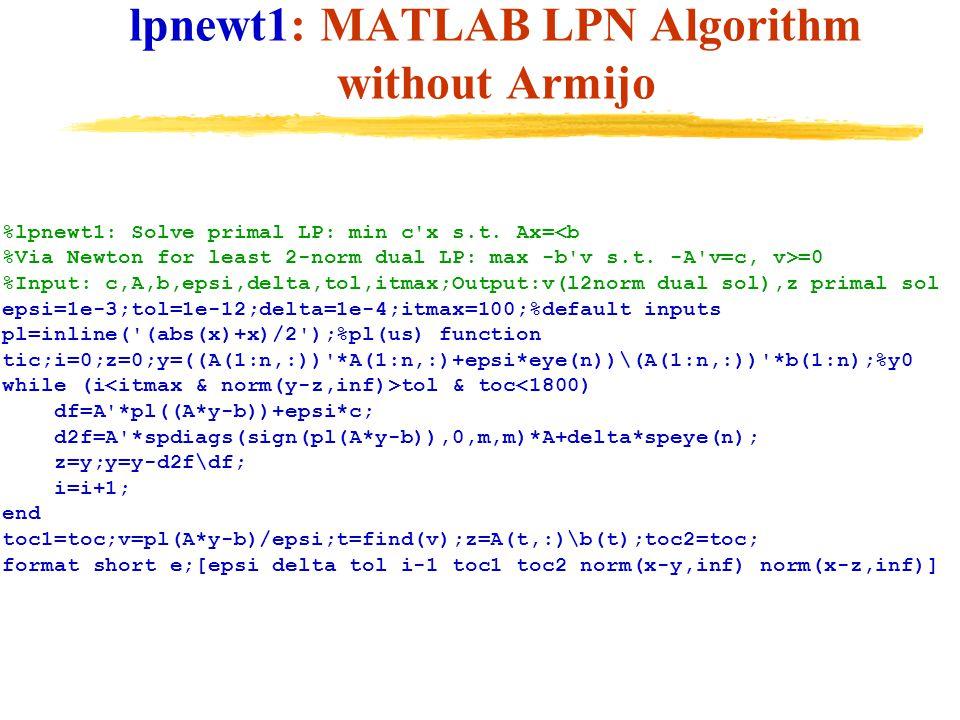 lpnewt1: MATLAB LPN Algorithm without Armijo %lpnewt1: Solve primal LP: min c'x s.t. Ax= =0 %Input: c,A,b,epsi,delta,tol,itmax;Output:v(l2norm dual so