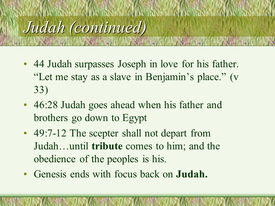Judah (continued) 44 Judah surpasses Joseph in love for his father.