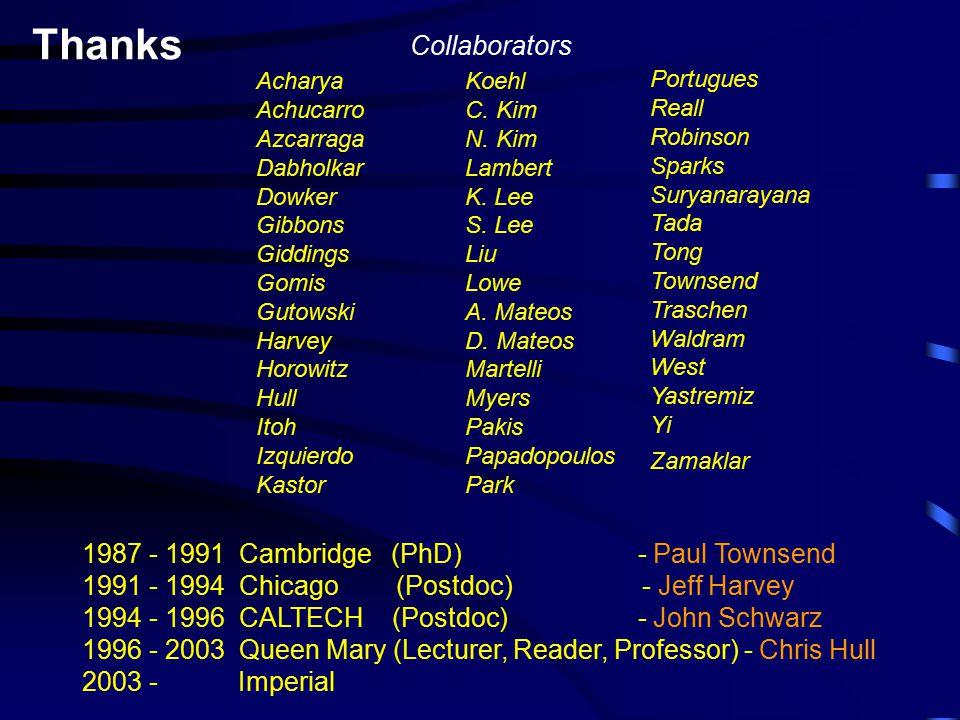 Thanks 1987 - 1991 Cambridge (PhD) - Paul Townsend 1991 - 1994 Chicago (Postdoc) - Jeff Harvey 1994 - 1996 CALTECH (Postdoc) - John Schwarz 1996 - 2003 Queen Mary (Lecturer, Reader, Professor) - Chris Hull 2003 - Imperial Collaborators Acharya Achucarro Azcarraga Dabholkar Dowker Gibbons Giddings Gomis Gutowski Harvey Horowitz Hull Itoh Izquierdo Kastor Koehl C.