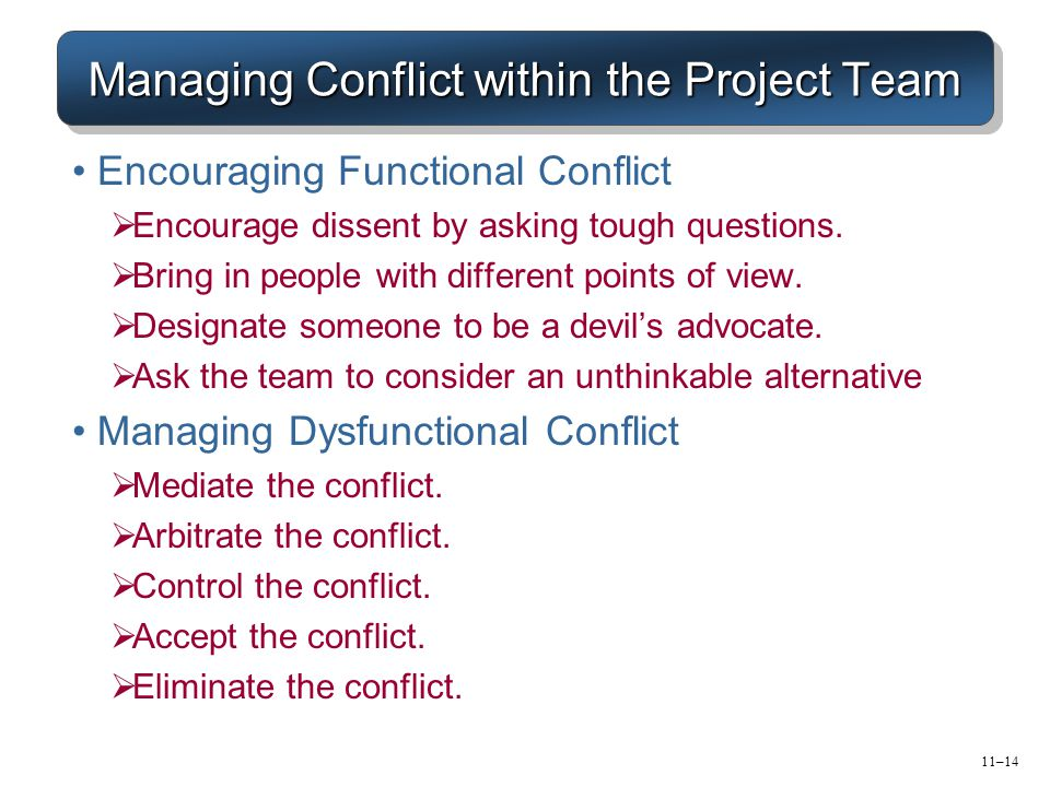 11–14 Managing Conflict within the Project Team Encouraging Functional Conflict  Encourage dissent by asking tough questions.
