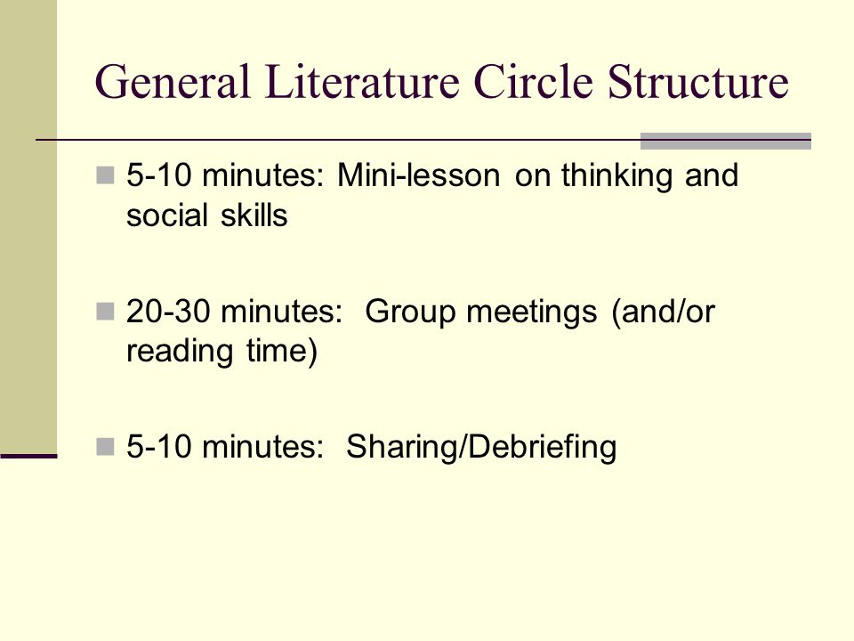 General Literature Circle Structure 5-10 minutes: Mini-lesson on thinking and social skills 20-30 minutes: Group meetings (and/or reading time) 5-10 m