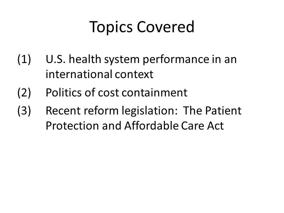 U.S. Health System Performance