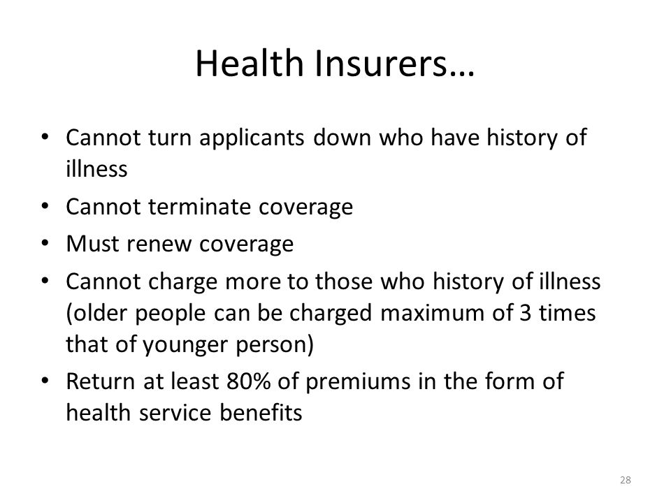 Health Insurers… Cannot turn applicants down who have history of illness Cannot terminate coverage Must renew coverage Cannot charge more to those who