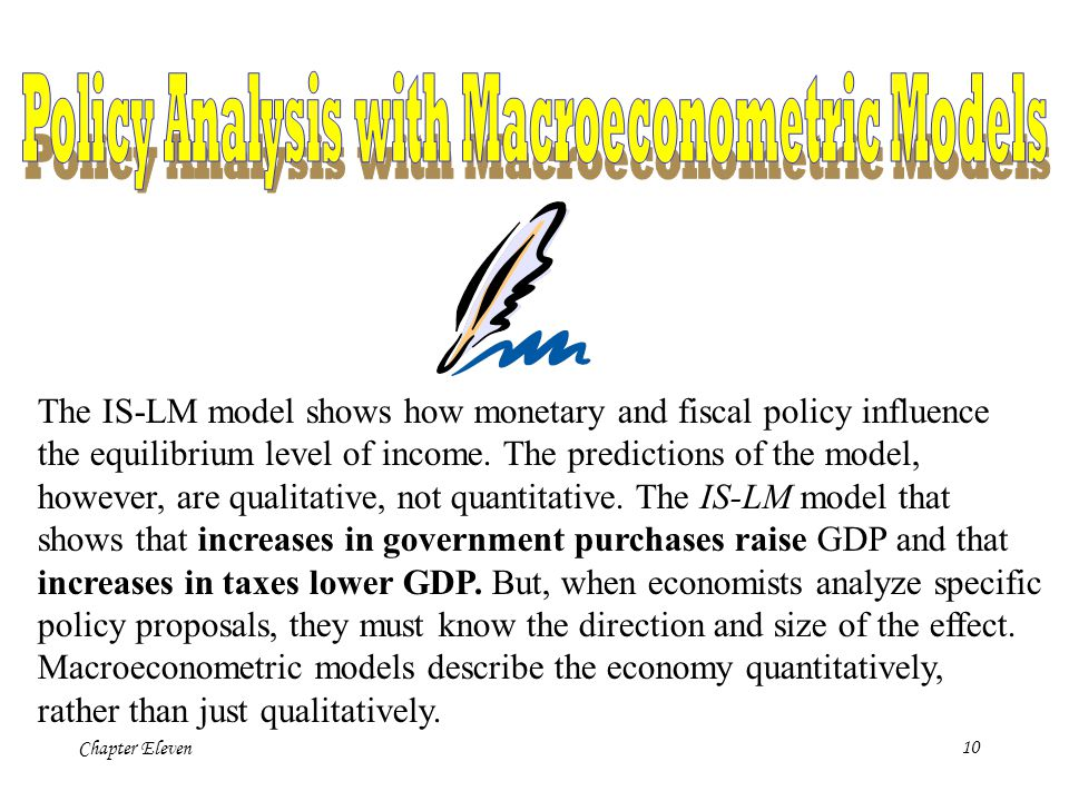 Chapter Eleven9 The IS-LM model shows that monetary policy influences income by changing the interest rate. This conclusion sheds light on our analysi