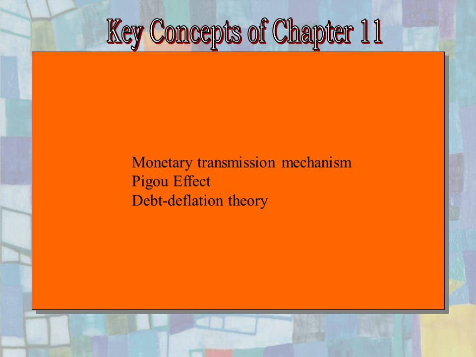 Chapter Eleven26 LM Y IS A IS´ B An expected deflation (a negative value of  e ) raises the real interest rate for any given nominal interest rate, and this depresses investment spending.