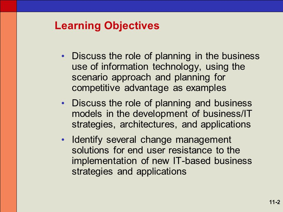 Planning Fundamentals Information technology has created a seismic shift in the way companies do business –Just knowing the importance and structure of e-business is not enough –You must create and implement an action plan that allows you to make the transition from an old business design to a new e-business design 11-3