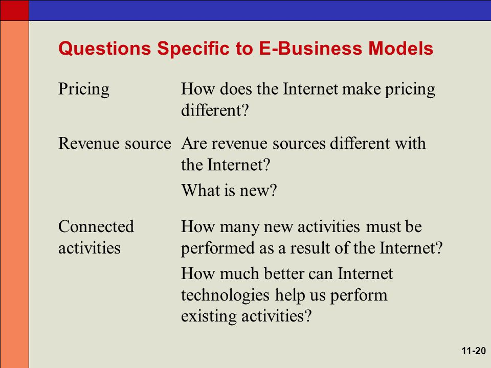 Questions Specific to E-Business Models ImplementationHow do Internet technologies affect the strategy, structure, systems, people, and environment of the firm.