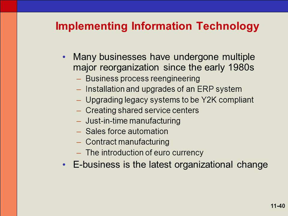 Impact and Scope of Implementing IT 11-41