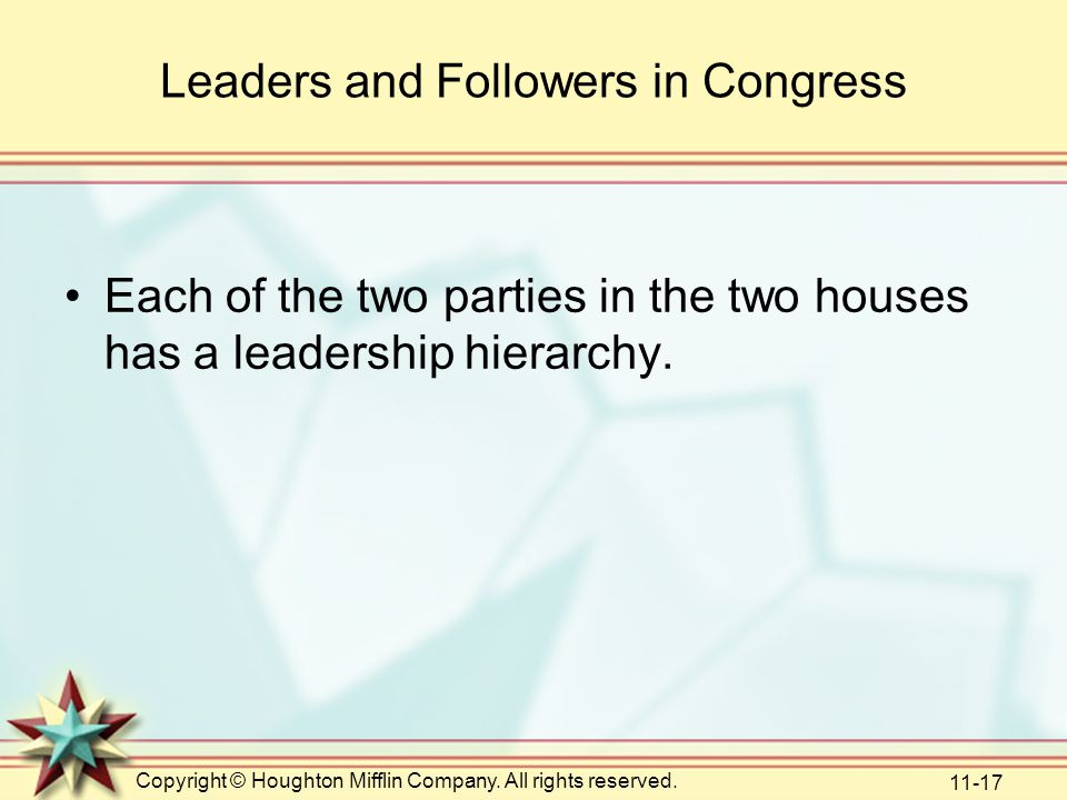 Copyright © Houghton Mifflin Company. All rights reserved. 11-17 Leaders and Followers in Congress Each of the two parties in the two houses has a lea