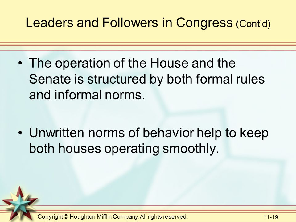 Copyright © Houghton Mifflin Company. All rights reserved. 11-19 Leaders and Followers in Congress (Cont'd) The operation of the House and the Senate