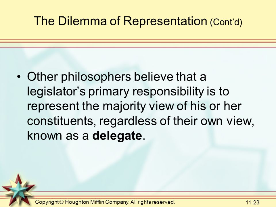 Copyright © Houghton Mifflin Company. All rights reserved. 11-23 The Dilemma of Representation (Cont'd) Other philosophers believe that a legislator's