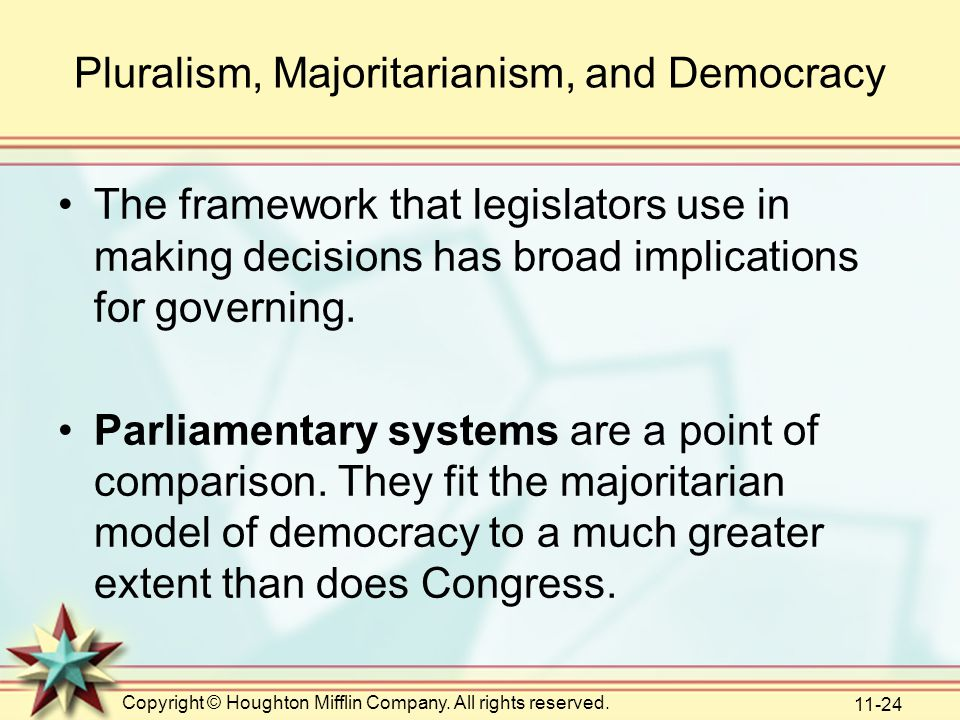 Copyright © Houghton Mifflin Company. All rights reserved. 11-24 Pluralism, Majoritarianism, and Democracy The framework that legislators use in makin