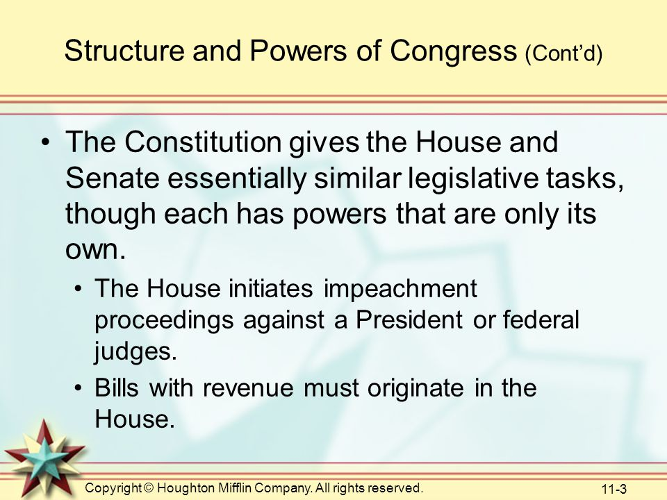 Copyright © Houghton Mifflin Company. All rights reserved. 11-3 Structure and Powers of Congress (Cont'd) The Constitution gives the House and Senate
