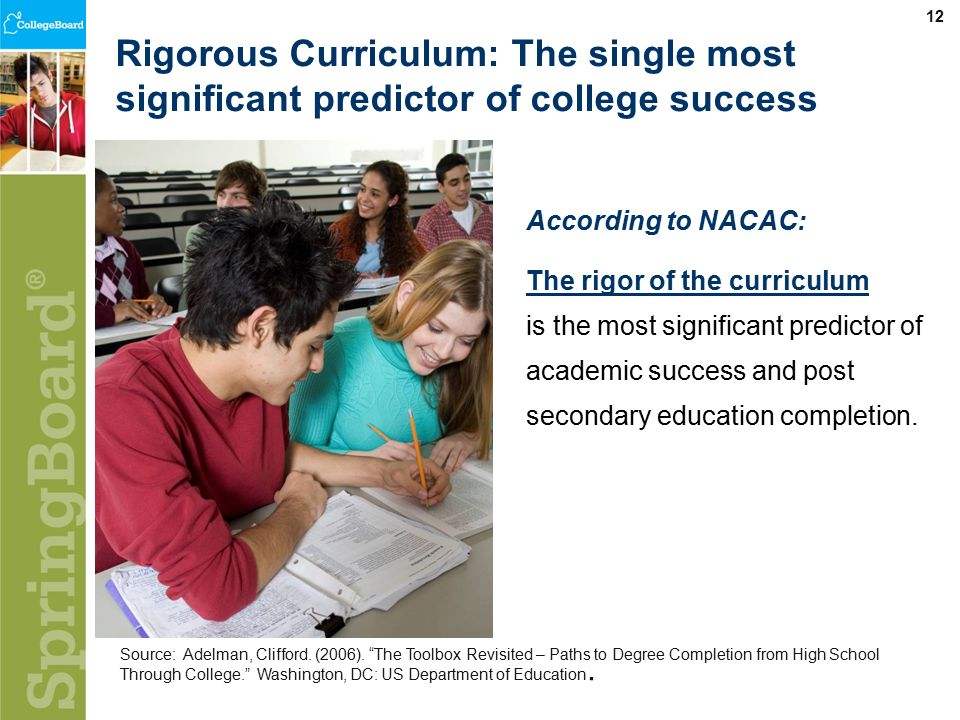 12 Rigorous Curriculum: The single most significant predictor of college success Source: Adelman, Clifford.