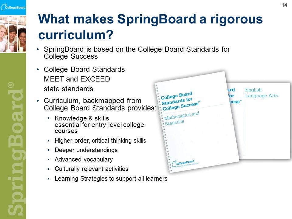 14 What makes SpringBoard a rigorous curriculum.