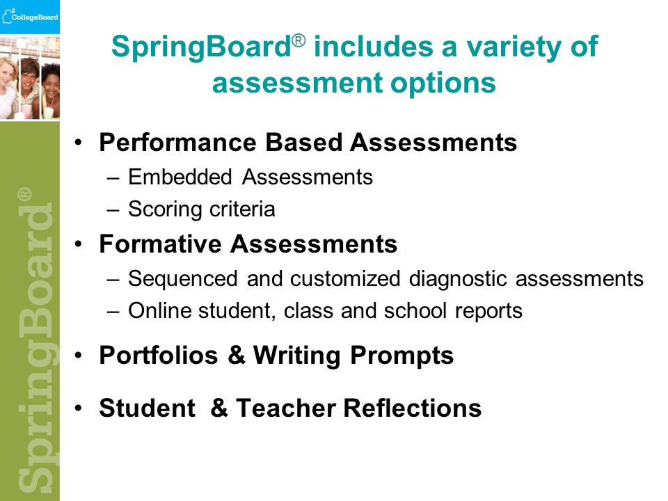 SpringBoard ® includes a variety of assessment options Performance Based Assessments –Embedded Assessments –Scoring criteria Formative Assessments –Sequenced and customized diagnostic assessments –Online student, class and school reports Portfolios & Writing Prompts Student & Teacher Reflections