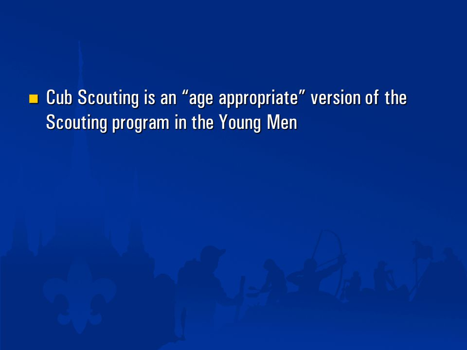 Cub Scouting is an age appropriate version of the Scouting program in the Young Men Cub Scouting is an age appropriate version of the Scouting program in the Young Men