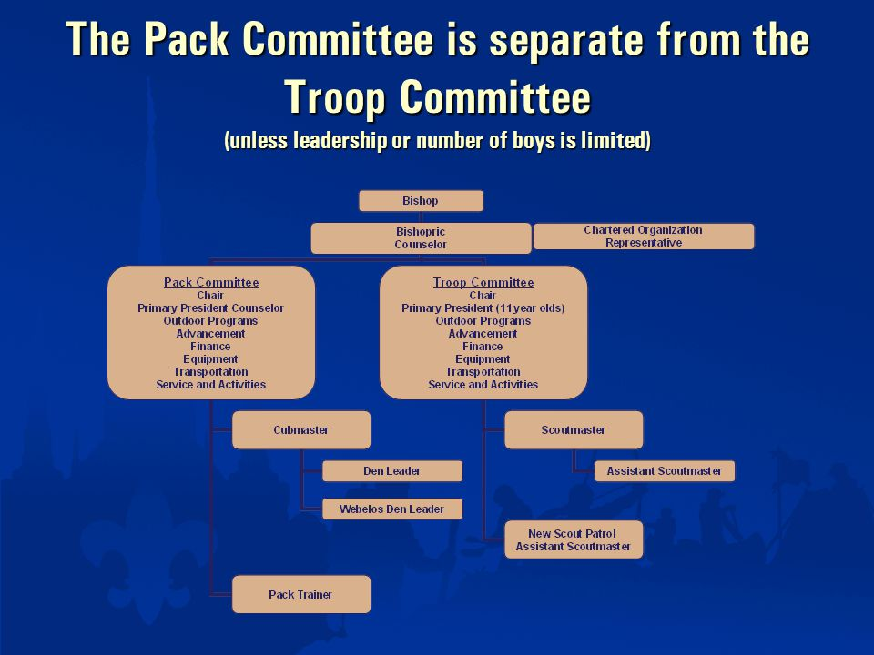 The Pack Committee is separate from the Troop Committee (unless leadership or number of boys is limited)