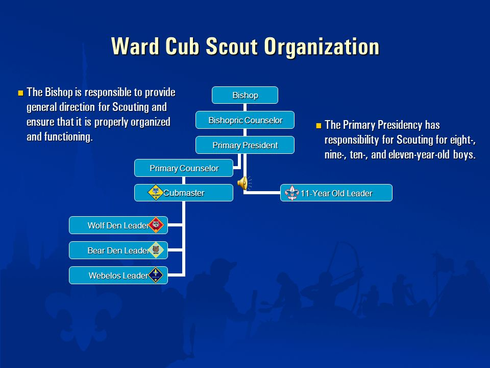 Ward Cub Scout Organization The Primary Presidency has responsibility for Scouting for eight-, nine-, ten-, and eleven-year-old boys.