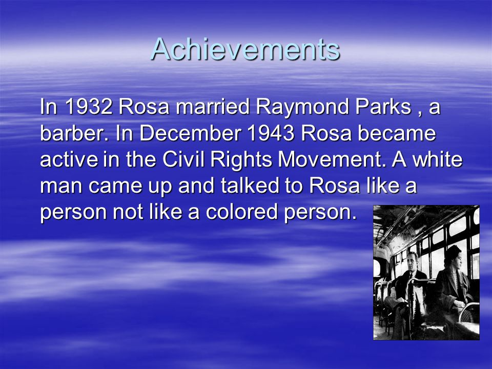 The Arrest Rosa got arrested on December 1, 1955 for refusing to move to the back of the bus.