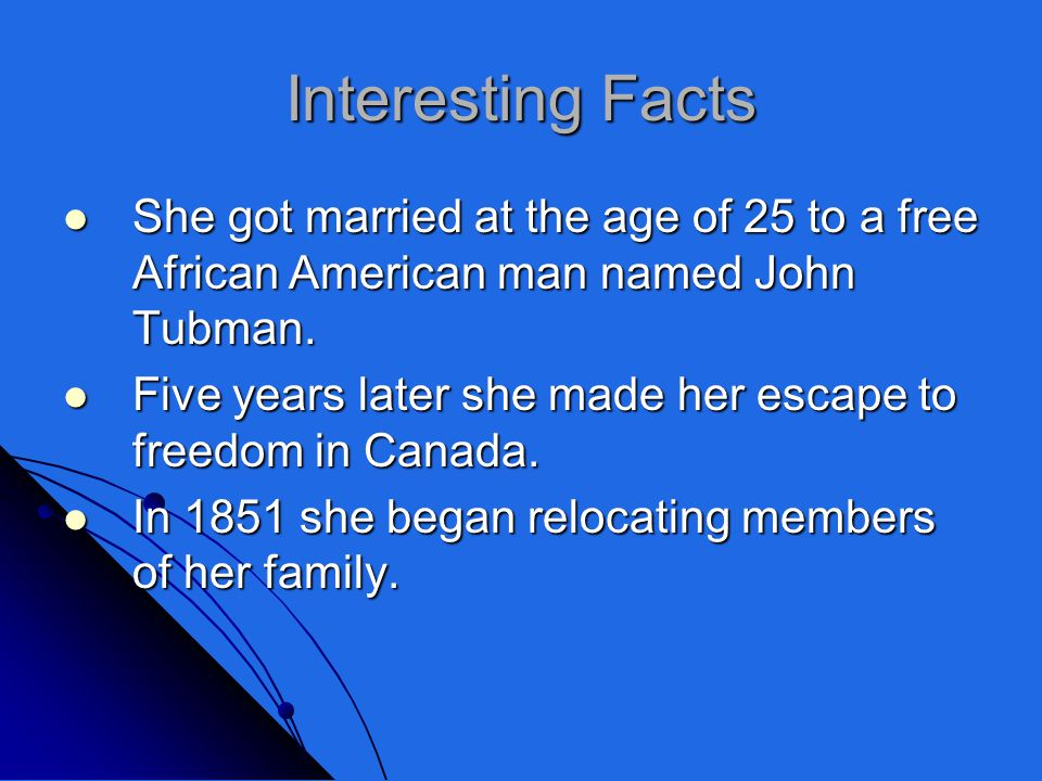 Her Achievements She helped run away slaves to get to freedom in an underground railroad. She helped run away slaves to get to freedom in an undergrou