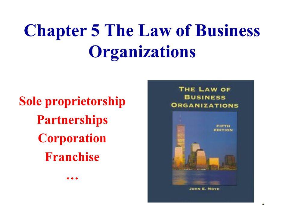 1 Chapter 5 The Law of Business Organizations Sole proprietorship Partnerships Corporation Franchise …