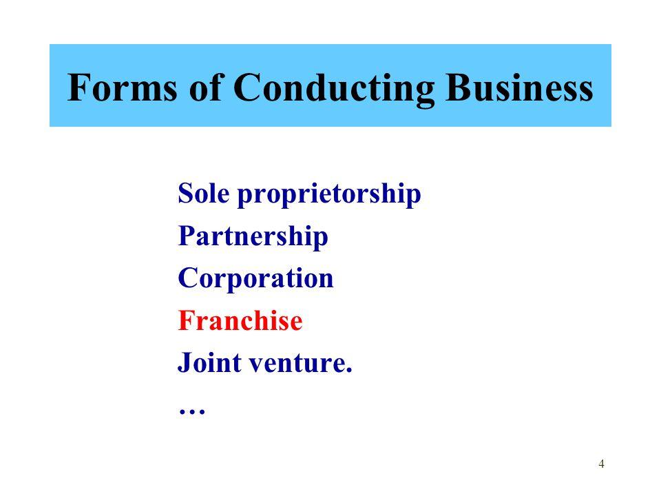 4 Forms of Conducting Business Sole proprietorship Partnership Corporation Franchise Joint venture.