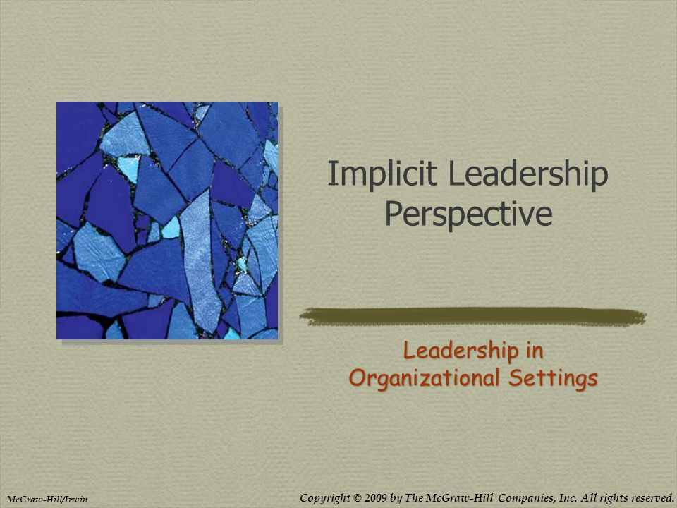 Copyright © 2009 by The McGraw-Hill Companies, Inc. All rights reserved. McGraw-Hill/Irwin Implicit Leadership Perspective Leadership in Organizationa