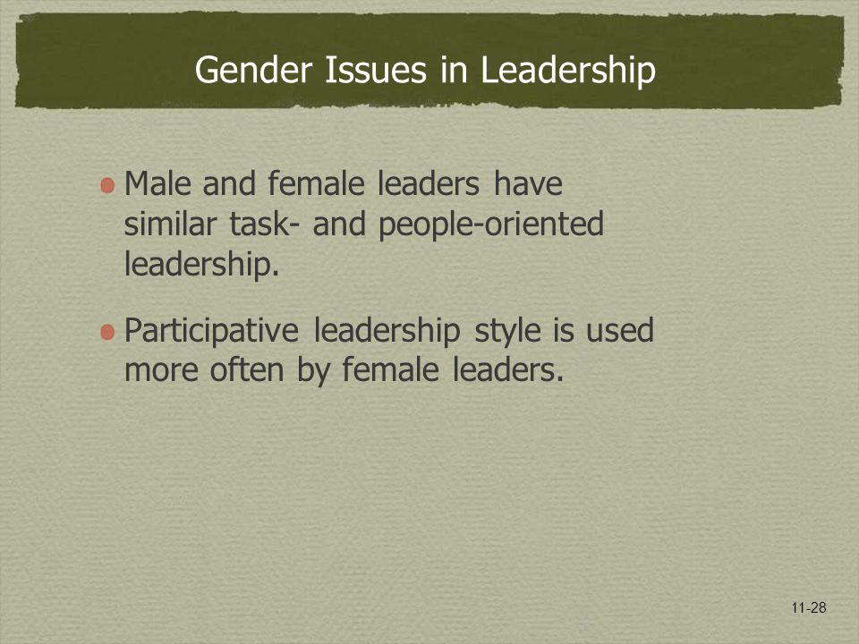 11-28 Gender Issues in Leadership Male and female leaders have similar task- and people-oriented leadership. Participative leadership style is used mo