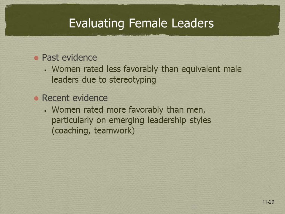 11-29 Evaluating Female Leaders Past evidence  Women rated less favorably than equivalent male leaders due to stereotyping Recent evidence  Women ra