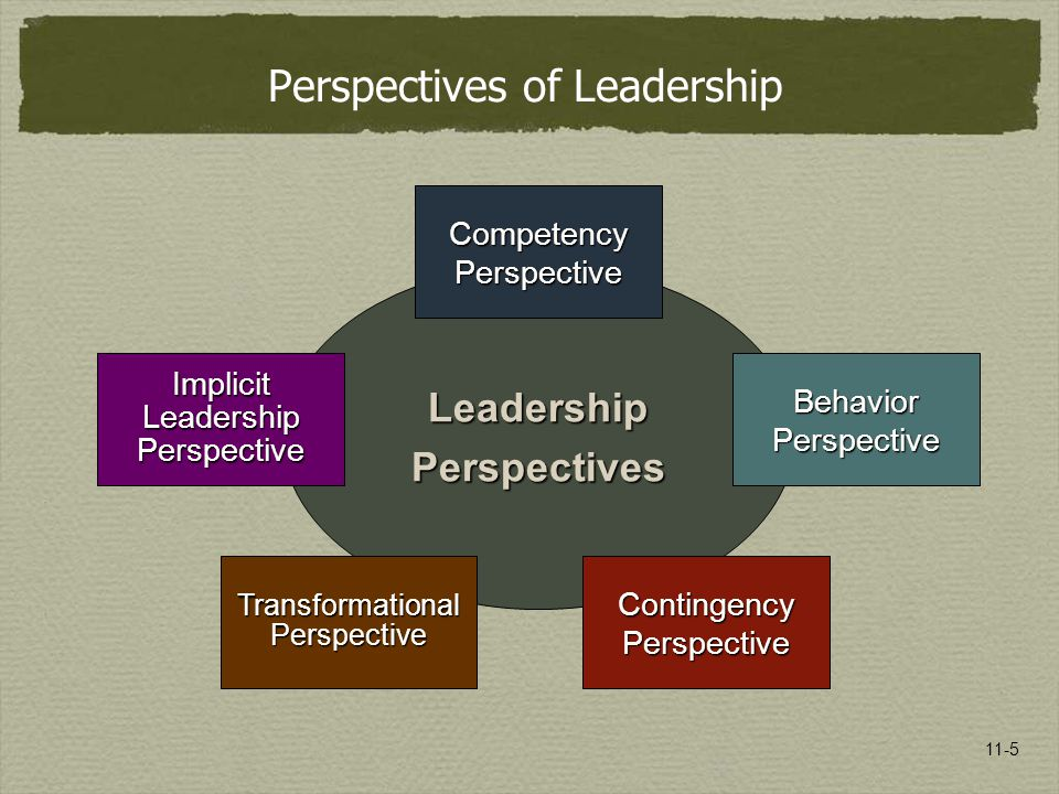 11-5 LeadershipPerspectives Competency Perspective Contingency Perspective Implicit Leadership Perspective Transformational Perspective Perspectives o