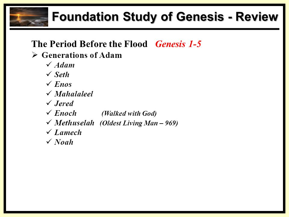 SS Foundation Study of Genesis - Review The Period Before the Flood Genesis 1-5  Generations of Adam Adam Seth Enos Mahalaleel Jered Enoch (Walked wi