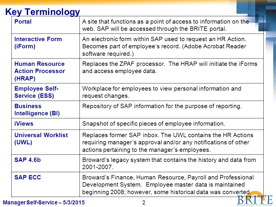 2Manager Self-Service – 5/3/2015 Key Terminology PortalA site that functions as a point of access to information on the web. SAP will be accessed thro