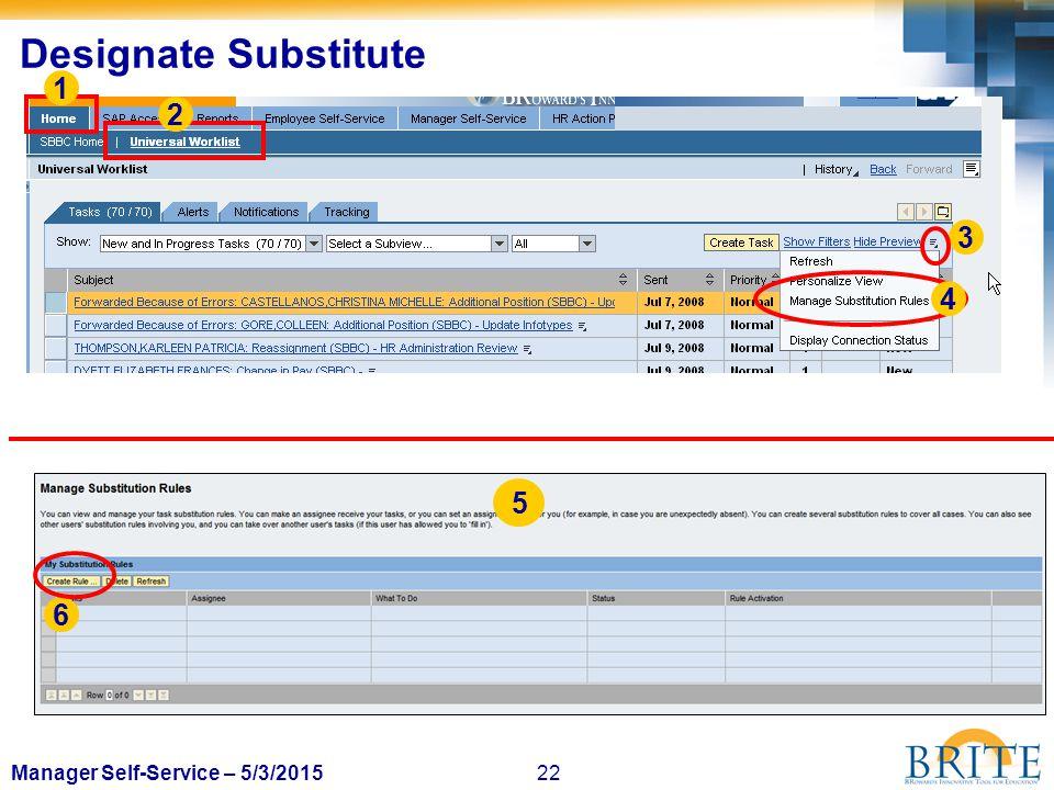 22Manager Self-Service – 5/3/2015 Designate Substitute 1 2 3 4 5 6