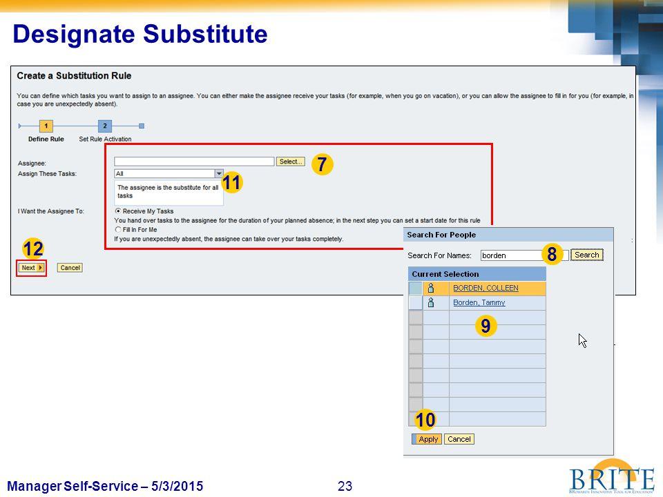 23Manager Self-Service – 5/3/2015 Designate Substitute 7 8 9 11 12 10