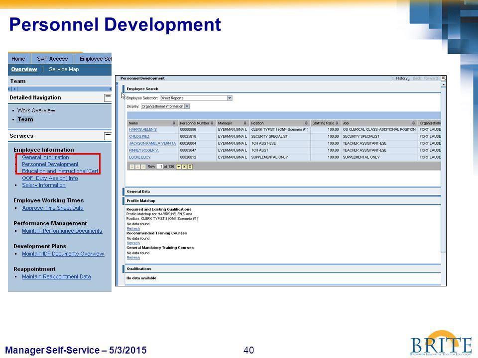 40Manager Self-Service – 5/3/2015 Personnel Development