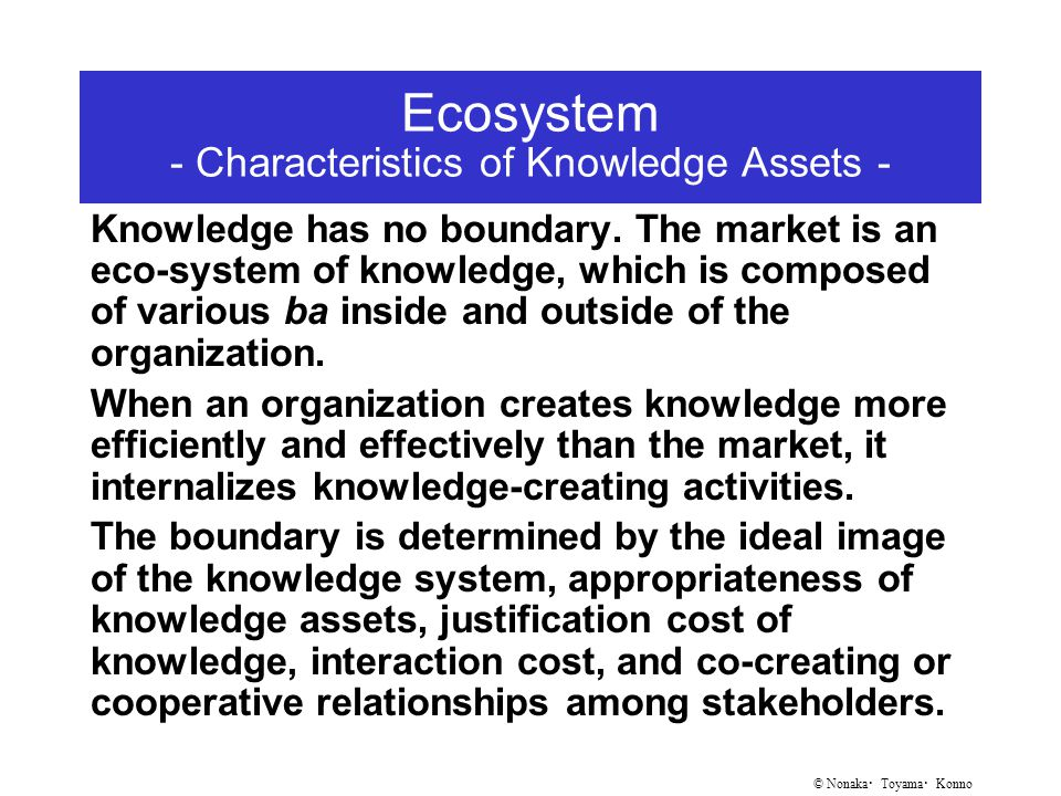 © Nonaka ・ Toyama ・ Konno Ecosystem - Characteristics of Knowledge Assets - Knowledge has no boundary.