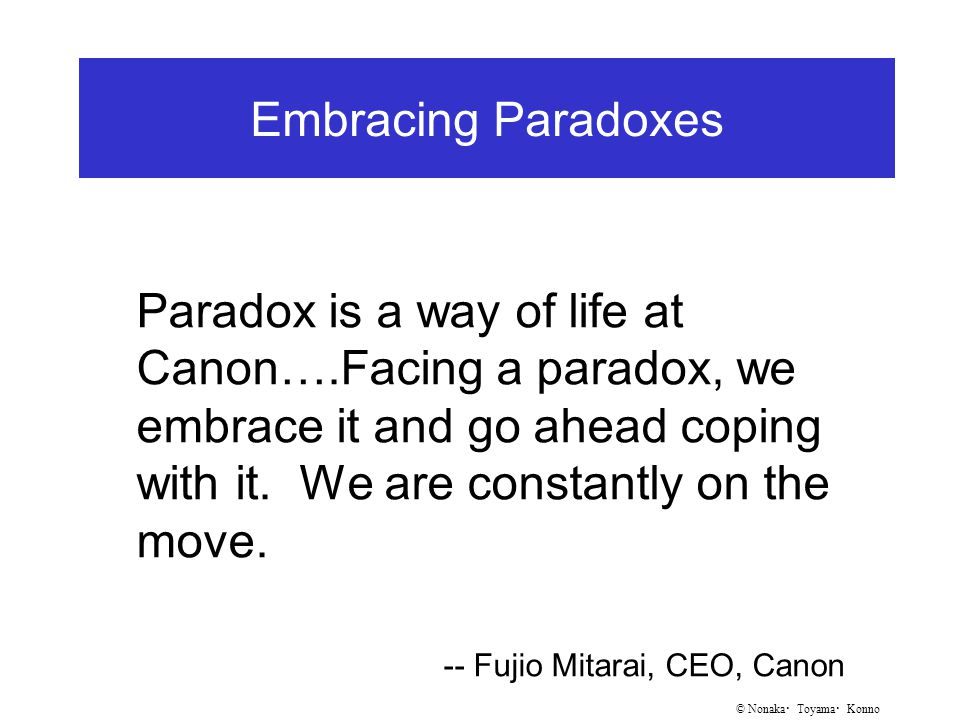 © Nonaka ・ Toyama ・ Konno Embracing Paradoxes Paradox is a way of life at Canon….Facing a paradox, we embrace it and go ahead coping with it.