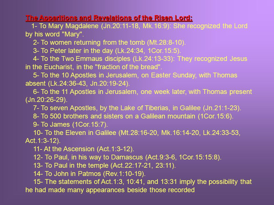 The Apparitions and Revelations of the Risen Lord: The Apparitions and Revelations of the Risen Lord: 1- To Mary Magdalene (Jn.20:11-18, Mk.16:9): She recognized the Lord by his word Mary .