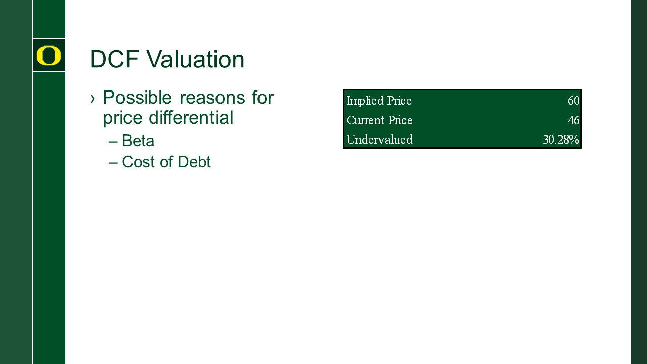 DCF Valuation ›Possible reasons for price differential –Beta –Cost of Debt