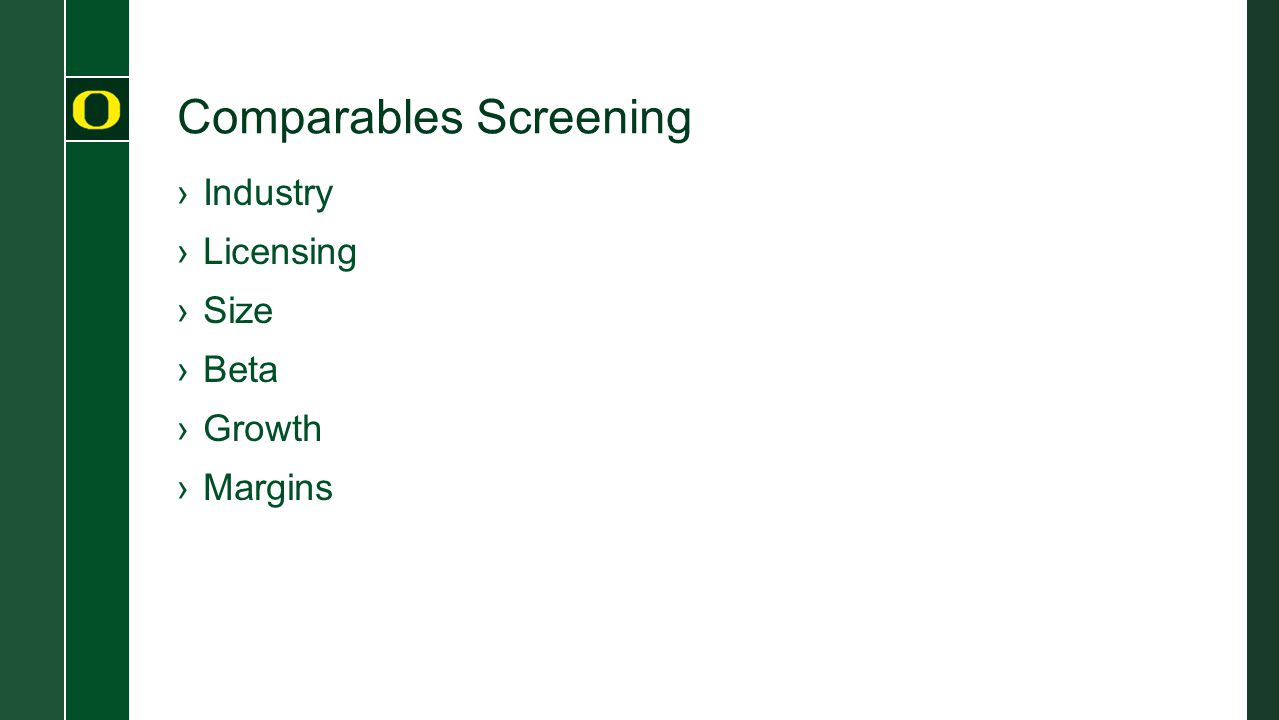 Comparables Screening ›Industry ›Licensing ›Size ›Beta ›Growth ›Margins