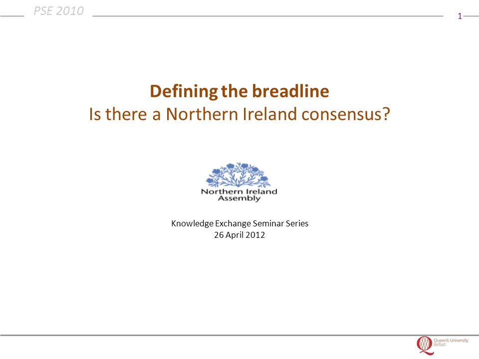 1 PSE 2010 Defining the breadline Is there a Northern Ireland consensus.