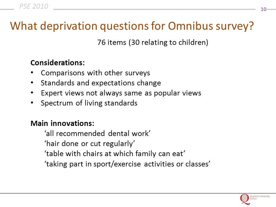 10 PSE 2010 What deprivation questions for Omnibus survey.