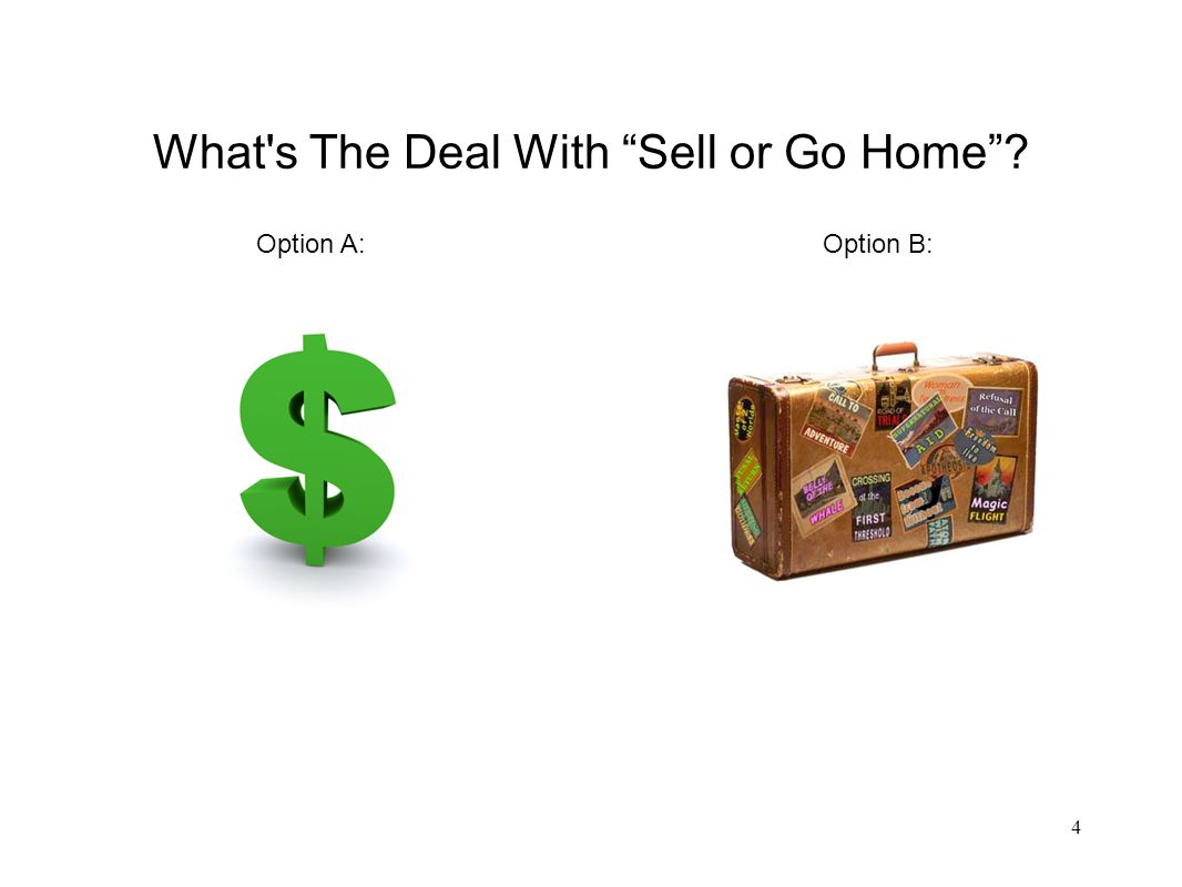 What s The Deal With Sell or Go Home 4 Option A:Option B: