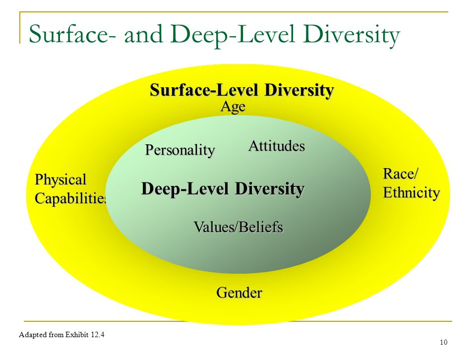 10 Surface-Level Diversity Age Race/Ethnicity PhysicalCapabilities Gender Surface- and Deep-Level Diversity Deep-Level Diversity Personality Attitudes Values/Beliefs Adapted from Exhibit 12.4
