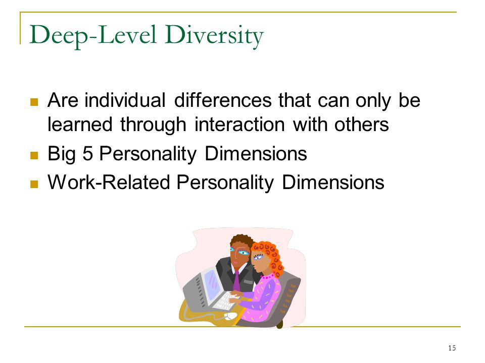 15 Deep-Level Diversity Are individual differences that can only be learned through interaction with others Big 5 Personality Dimensions Work-Related Personality Dimensions