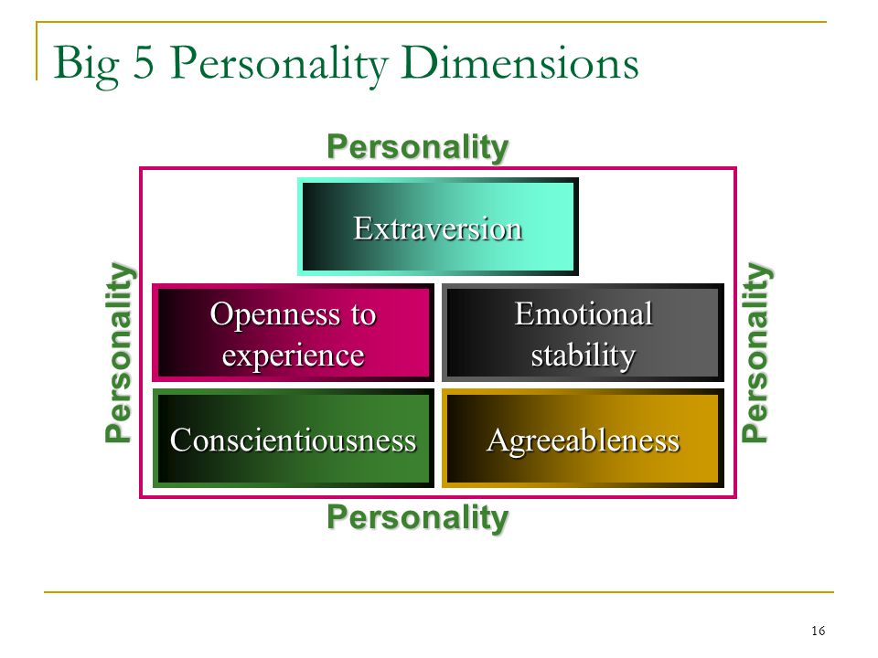 16 Big 5 Personality Dimensions Extraversion AgreeablenessConscientiousness Emotionalstability Openness to experience Personality Personality Personality Personality