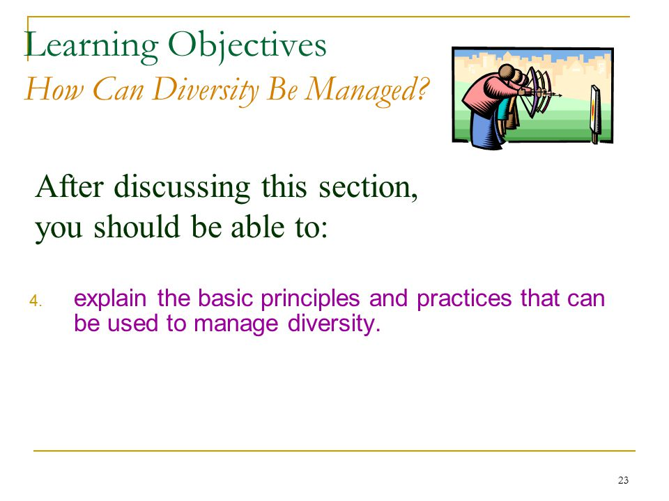 23 After discussing this section, you should be able to: Learning Objectives How Can Diversity Be Managed.