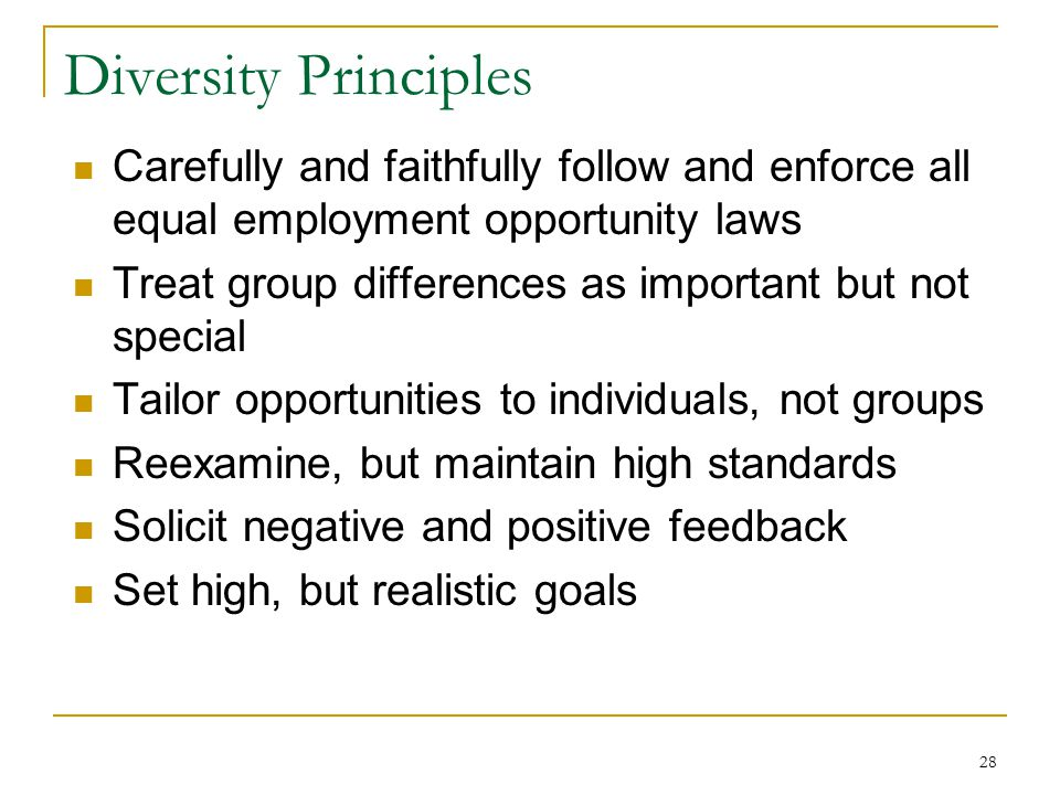 28 Diversity Principles Carefully and faithfully follow and enforce all equal employment opportunity laws Treat group differences as important but not special Tailor opportunities to individuals, not groups Reexamine, but maintain high standards Solicit negative and positive feedback Set high, but realistic goals