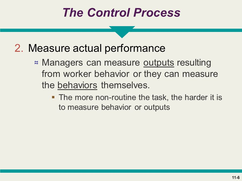 11-6 The Control Process 2.Measure actual performance ≈ Managers can measure outputs resulting from worker behavior or they can measure the behaviors themselves.